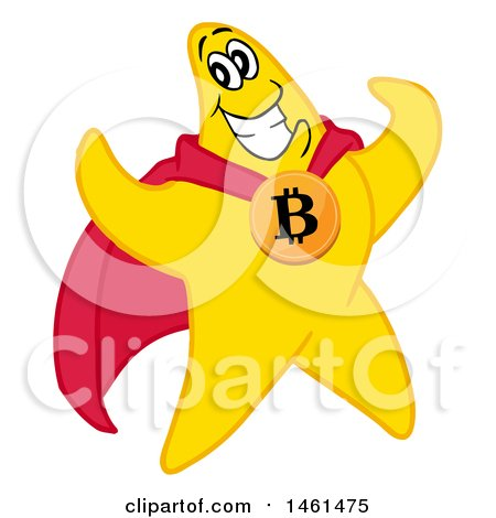 Clipart of a Cartoon Strong Star Super Hero Flexing and Wearing a Bitcoin - Royalty Free Vector Illustration by LaffToon
