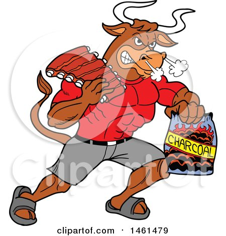 Clipart of a Cartoon Muscular Bull Carrying Bbq Ribs and Charcoal - Royalty Free Vector Illustration by LaffToon
