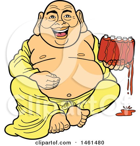 Clipart of a Cartoon Laughing Buddha Sitting and Holding Saucy Ribs - Royalty Free Vector Illustration by LaffToon