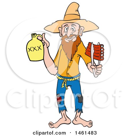 Clipart of a Cartoon Hillbilly Man Holding a Bottle of Risky and Bbq Ribs - Royalty Free Vector Illustration by LaffToon