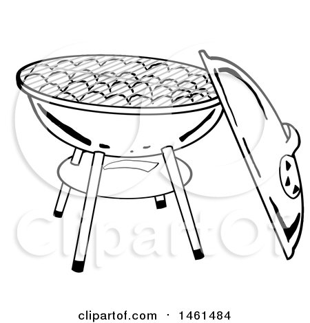 Clipart of a Grayscale Kettle Bbq Grill with Charcoal - Royalty Free Vector Illustration by LaffToon