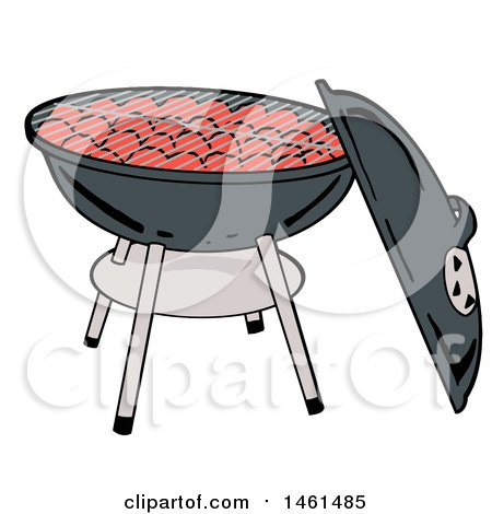 Clipart of a Cartoon Kettle Bbq Grill with Charcoal - Royalty Free Vector Illustration by LaffToon