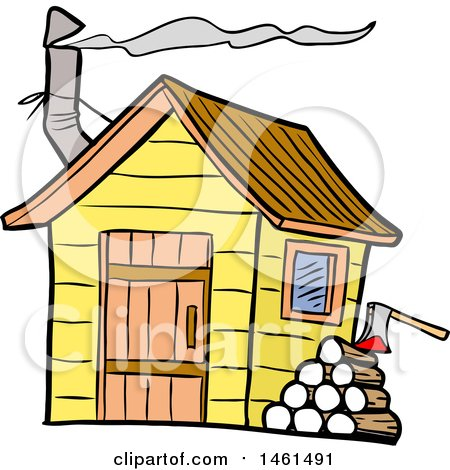 Clipart of a Cartoon Woodpile by a Smokehouse - Royalty Free Vector Illustration by LaffToon