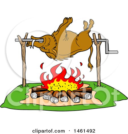 Clipart of a Cartoon Wild Boar Cooking on a Spit over a Fire - Royalty Free Vector Illustration by LaffToon