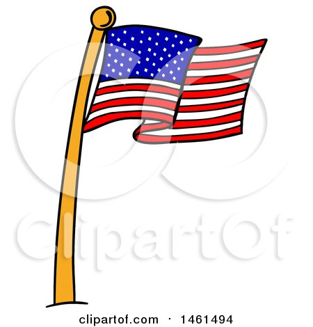 Clipart of a Cartoon American Flag Pole - Royalty Free Vector Illustration by LaffToon