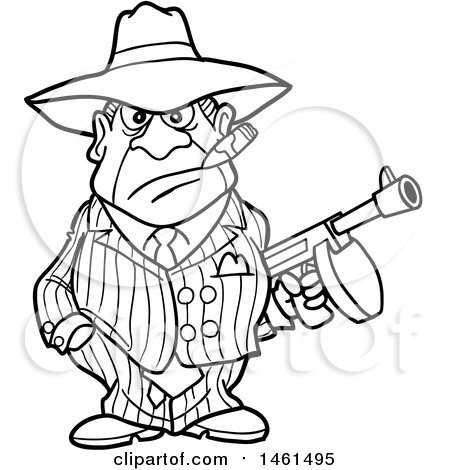 Clipart of a Cartoon Black and White Gangter Holding a Tommy Gun - Royalty Free Vector Illustration by LaffToon