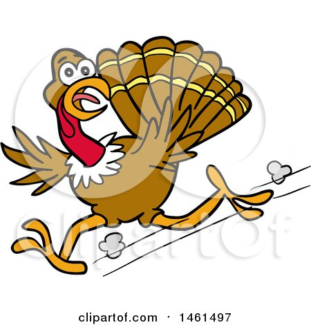 Clipart of a Cartoon Scared Turkey Running and Looking Back - Royalty Free Vector Illustration by LaffToon