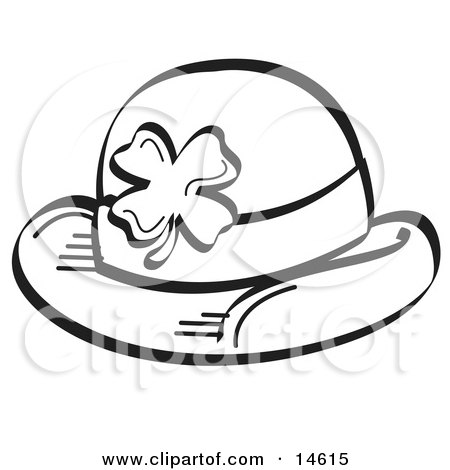 Black and White St Paddy's Day Hat With a Clover on it Clipart Illustration by Andy Nortnik