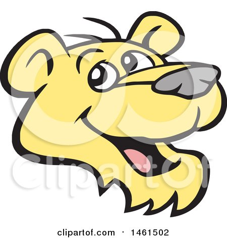 Clipart of a Happy Cougar Mascot Face - Royalty Free Vector Illustration by Johnny Sajem