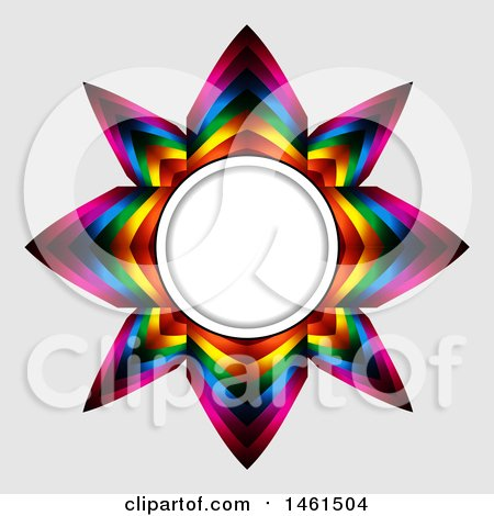 Clipart of a Colorful Star Frame on a Gray Background - Royalty Free ...