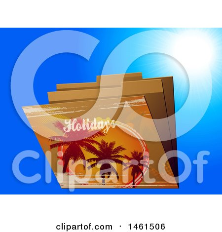 Clipart of Palm Trees and Holiday Text on File Folders over Blue - Royalty Free Vector Illustration by elaineitalia