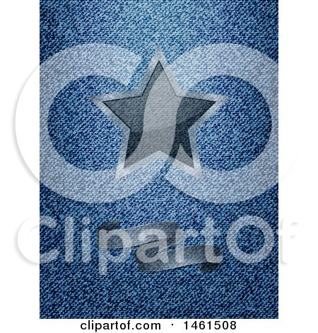 Clipart of a Semi Transparent Ribbon Banner and Star over Blue Denim - Royalty Free Vector Illustration by elaineitalia