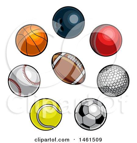 Clipart of Sports Balls - Royalty Free Vector Illustration by AtStockIllustration