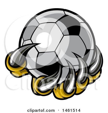 Clipart of a Clawed Creature Holding a Soccer Ball - Royalty Free Vector Illustration by AtStockIllustration