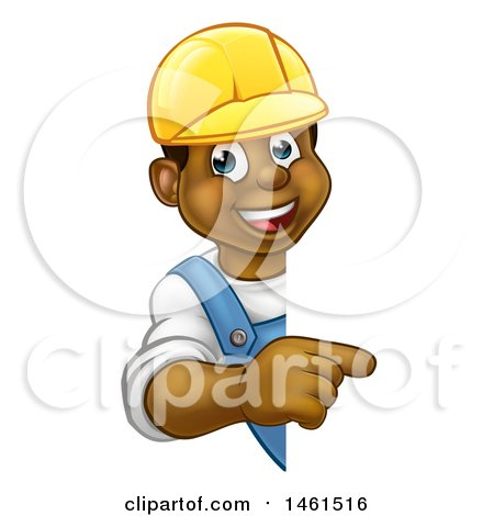Cartoon Happy Black Male Worker Wearing a Hardhat and Pointing Around a Sign Posters, Art Prints
