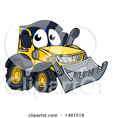 Clipart of a Bulldozer Mascot Character - Royalty Free Vector Illustration by AtStockIllustration