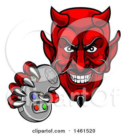 Clipart of a Grinning Evil Red Devil Holding a Video Game Controller - Royalty Free Vector Illustration by AtStockIllustration