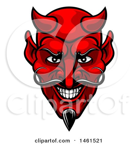 Clipart of a Grinning Evil Red Devil Face - Royalty Free Vector Illustration by AtStockIllustration