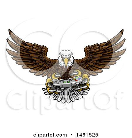 Clipart of a Cartoon Swooping American Bald Eagle with a Video Game Controller in Its Talons - Royalty Free Vector Illustration by AtStockIllustration