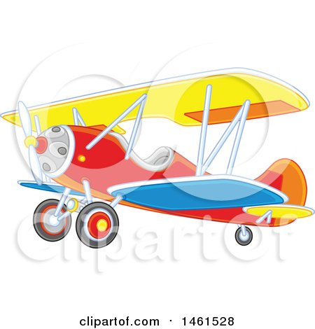 Clipart of a Cute Colorful Biplane - Royalty Free Vector Illustration by Alex Bannykh