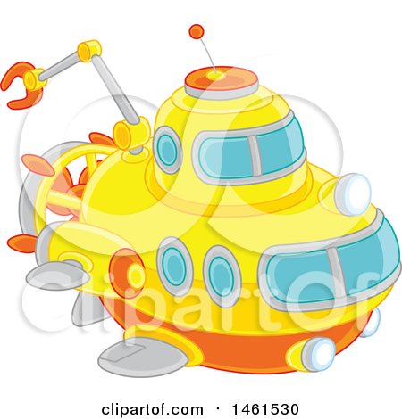 Clipart of a Cute Submarine - Royalty Free Vector Illustration by Alex Bannykh