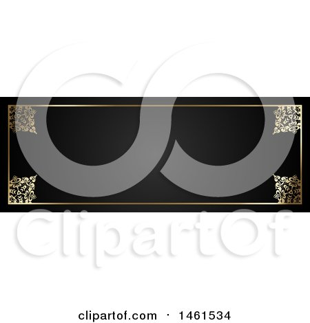 Clipart of a Black and Ornate Floral Gold Border Design - Royalty Free Vector Illustration by KJ Pargeter