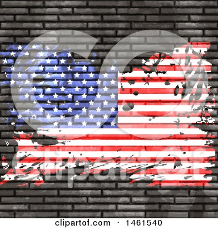 Clipart of a Brick Wall with a Grungy American Flag - Royalty Free Vector Illustration by KJ Pargeter