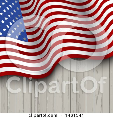 Clipart of a Wood Background with a Waving American Flag - Royalty Free Vector Illustration by KJ Pargeter