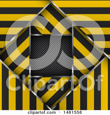 Clipart of a Background of Layered Warning Stripe Borders over Metal - Royalty Free Vector Illustration by KJ Pargeter
