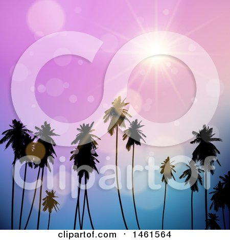 Clipart of a Purple Sunset Sky over Tropical Palm Trees - Royalty Free Vector Illustration by KJ Pargeter