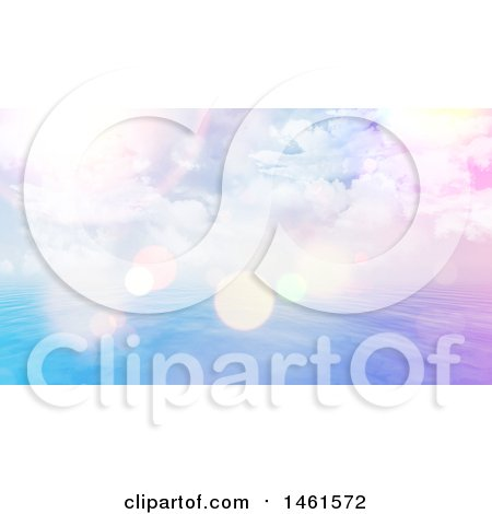 Clipart of a Background of a Cloudy Sunny Sky over the Ocean, with Flares - Royalty Free Illustration by KJ Pargeter