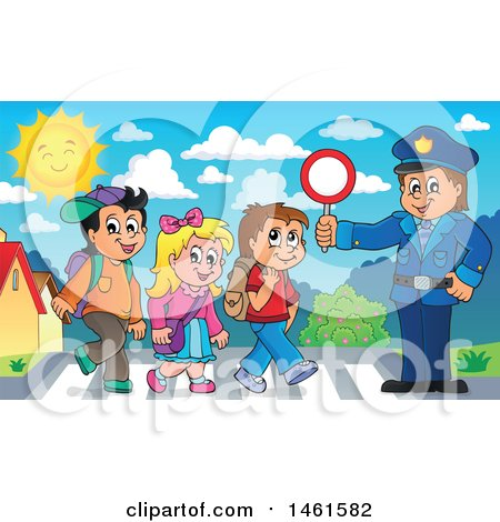 Clipart of a Police Officer Holding a Sign While Children Walk on a Crosswalk - Royalty Free Vector Illustration by visekart
