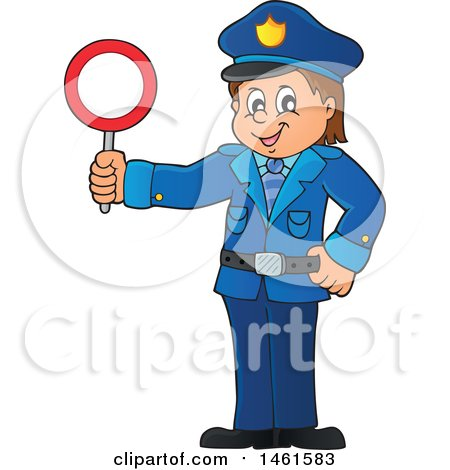 Clipart of a Police Officer Holding a Sign - Royalty Free Vector Illustration by visekart