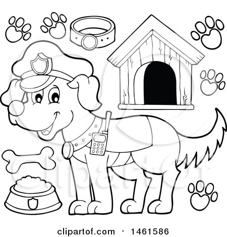 Clipart of a Black and White Police Dog and Accessories - Royalty Free Vector Illustration by visekart