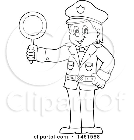 Clipart of a Black and White Police Officer Holding a Sign - Royalty Free Vector Illustration by visekart