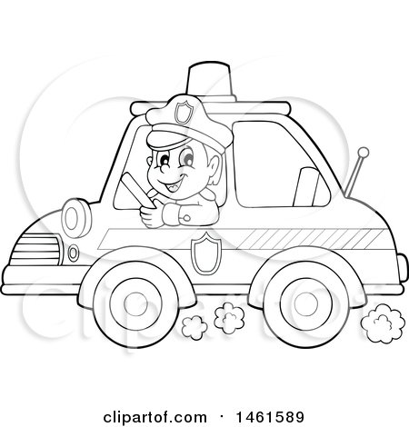 Clipart of a Black and White Police Officer Holding a Sign ...