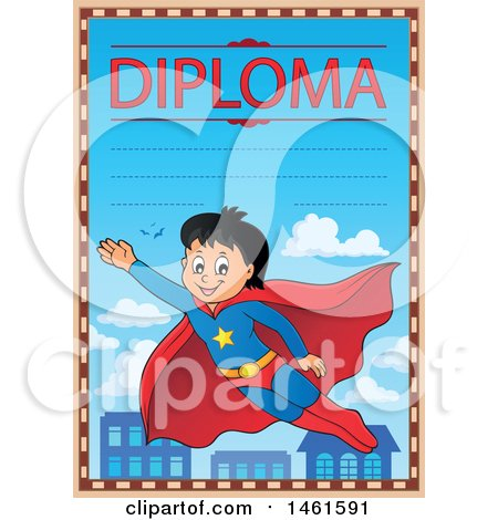 Clipart of a Diploma of a Flying Super Hero Boy - Royalty Free Vector Illustration by visekart