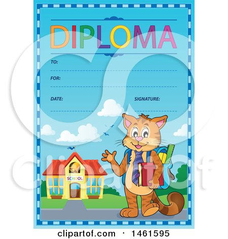 Clipart of a Diploma of a Cat Student - Royalty Free Vector Illustration by visekart