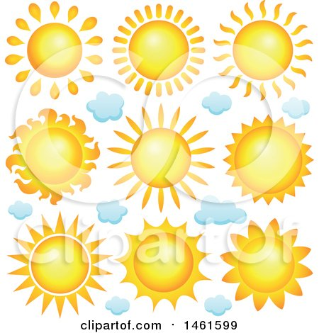 Clipart of Summer Time Suns - Royalty Free Vector Illustration by visekart
