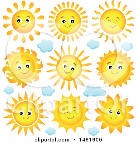 Clipart of Summer Time Sun Characters - Royalty Free Vector Illustration by visekart