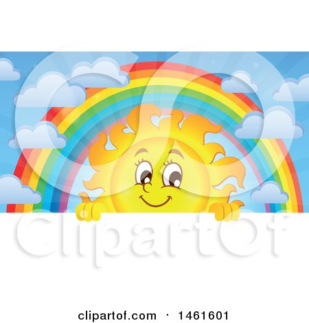 Clipart of a Summer Time Sun Character and Rainbow over a Sign - Royalty Free Vector Illustration by visekart