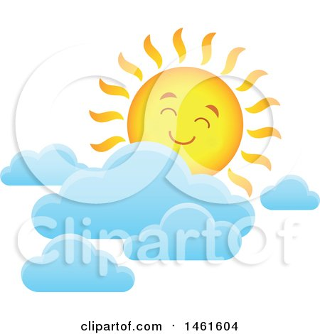 Clipart of a Summer Time Sun Character and Clouds - Royalty Free Vector Illustration by visekart