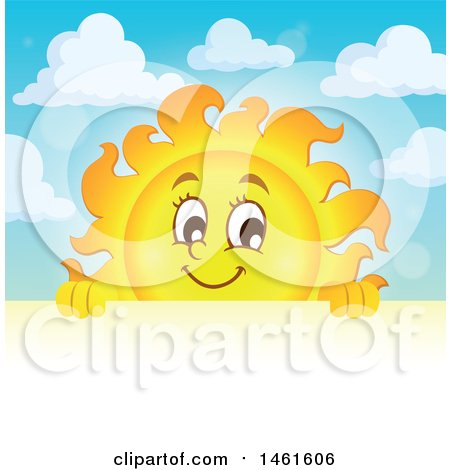 Clipart of a Summer Time Sun Character over a Sign - Royalty Free Vector Illustration by visekart