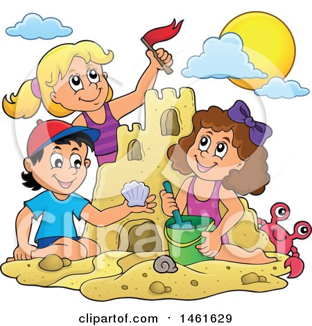 Clipart of a Group of Kids Building a Sand Castle - Royalty Free Vector Illustration by visekart