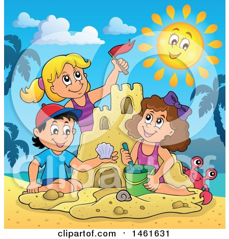 Clipart of a Group of Kids Building a Sand Castle on a Beach - Royalty Free Vector Illustration by visekart