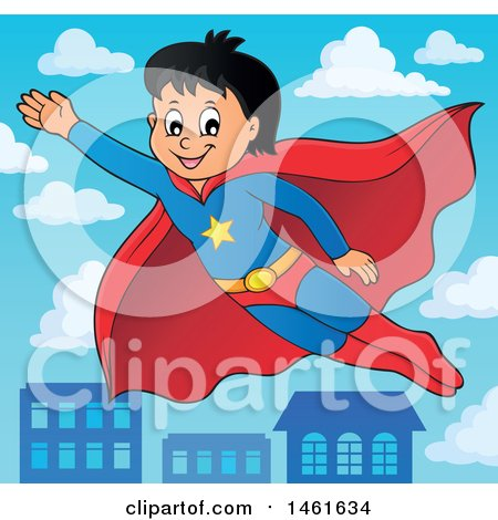 Clipart of a Flying Super Hero Boy over a Town - Royalty Free Vector Illustration by visekart