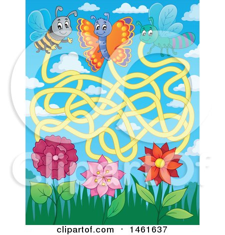 Clipart of a Bug and Flower Maze - Royalty Free Vector Illustration by visekart