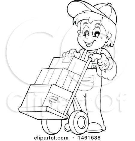 Clipart of a Black and White Worker Moving Boxes on a Dolly Hand Truck - Royalty Free Vector Illustration by visekart