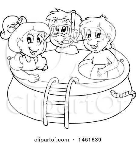 Clipart Of A Black And White Group Children In Swimming Pool