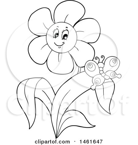 Clipart of a Black and White Happy Flower and Butterfly - Royalty Free Vector Illustration by visekart